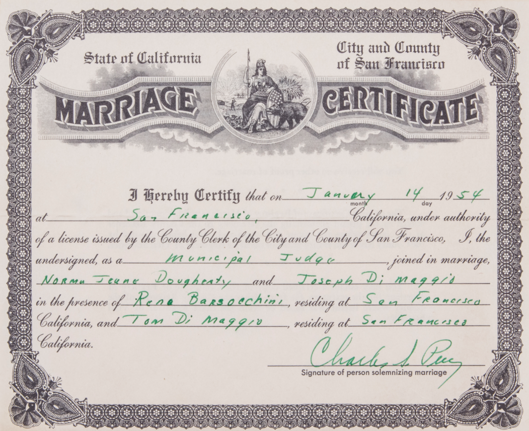 Marriage certificate of Joe DiMaggio and Marilyn Monroe sells at ...