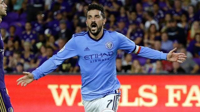 David Villa scored his 14th goal of the season as New York City FC defeated Chicago, 2-1, at Yankee Stadium.