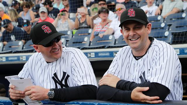 During his first spring game as Yankees manager, Aaron Boone embraced the team's expectations as well as his new surroundings.
